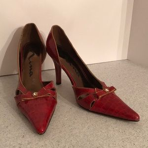 Red moc croc textured high heel D'Orsay pumps 8.5M